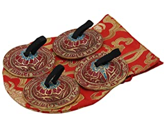 DharmaObjects Belly Dancing OM Namah Pro Finger Zills or Cymbals (Red)