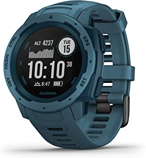 Garmin Instinct, Rugged Outdoor Watch with GPS, Features GLONASS and Galileo, Heart Rate Monitoring and 3-axis Compass, Lakeside Blue