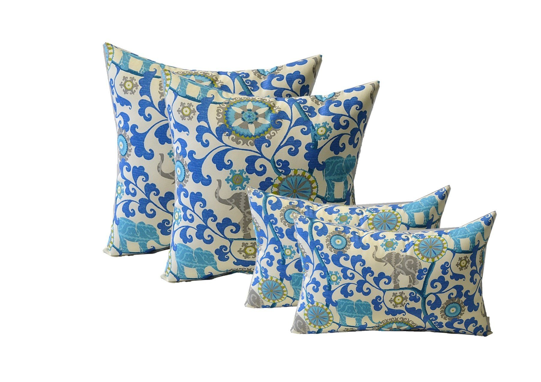 Green Sapphire Blue Gray Bohemian Elephant Decorative Indoor  Outdoor Rectangle  Lumbar Pillows Turquoise Set of 2
