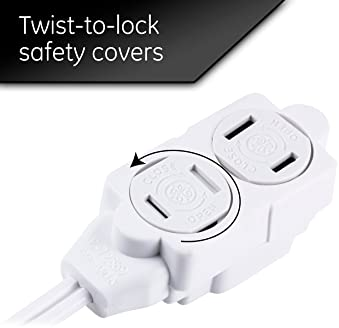 GE 3-Outlet Power Strip, 12 Ft Extension Cord, 2 Prong, 16 Gauge, Twist-to-Close Safety Outlet Covers, Indoor Rated, ...