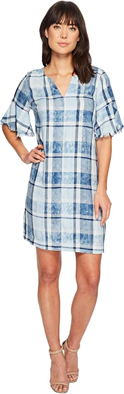 Flutter Sleeve Bleach Indigo Plaid Dress