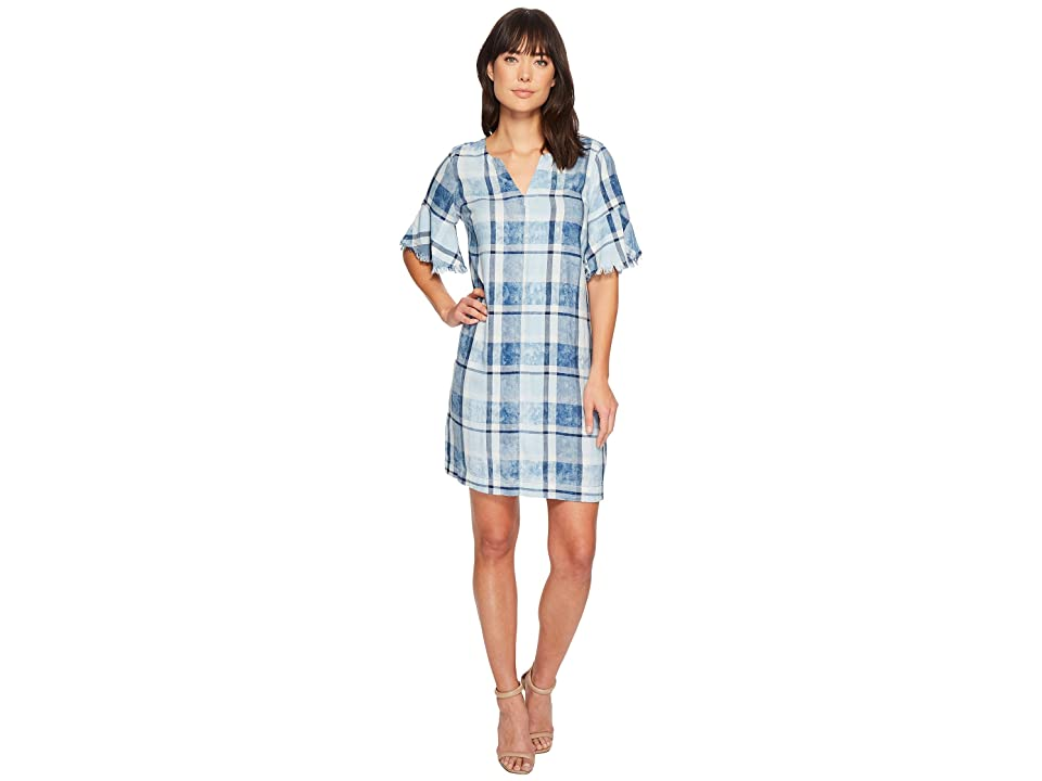 TWO by Vince Camuto Flutter Sleeve Bleach Indigo Plaid Dress (Stillwater) Women
