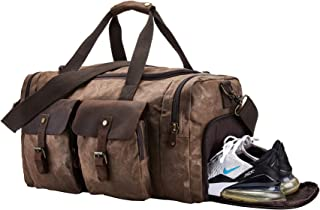 BRASS TACKS Leathercraft Bolsa de Viaje de Lona Impermeable con Compartimento para Zapatos Bolso del Fin de Semana Vintage...