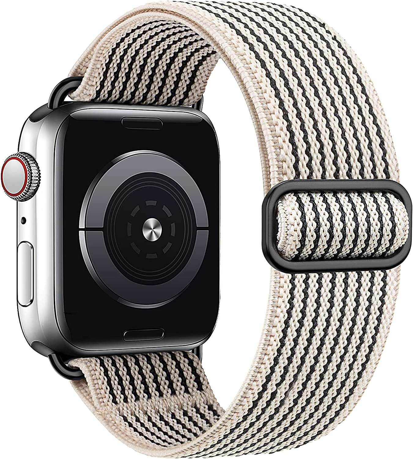 MEULOT Stretchy Braided Solo Loop Band Compatible with Apple Watch Band 38mm 40mm 42mm 44mm Adjustable Nylon Elastic Sport Women Men Strap Compatible with iWatch Series 6/5/4/3/2/1 SE BlackWS 38/40S