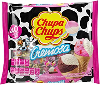 Best Chupa Chups Lollipops, 40 Candy Suckers for Kids, Cremosa Ice Cream, 2 Assorted Creamy Flavors, for Gifting, Parties, Office, 40 Count Review