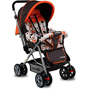LuvLap Sunshine Stroller/Pram, Easy Fold, for Newborn Baby/Kids, 0-3 Years (Orange)