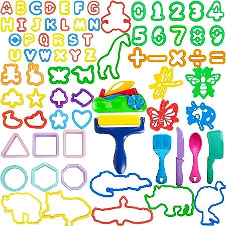 LEXINCHENG 77 PCS Kit di Strumenti per Pasta di Argilla per Bambini, Vari stampi per Animali in plastica e Set di Strumenti per Numeri Include stampi e Accessori per Il Taglio Creativo della Pasta