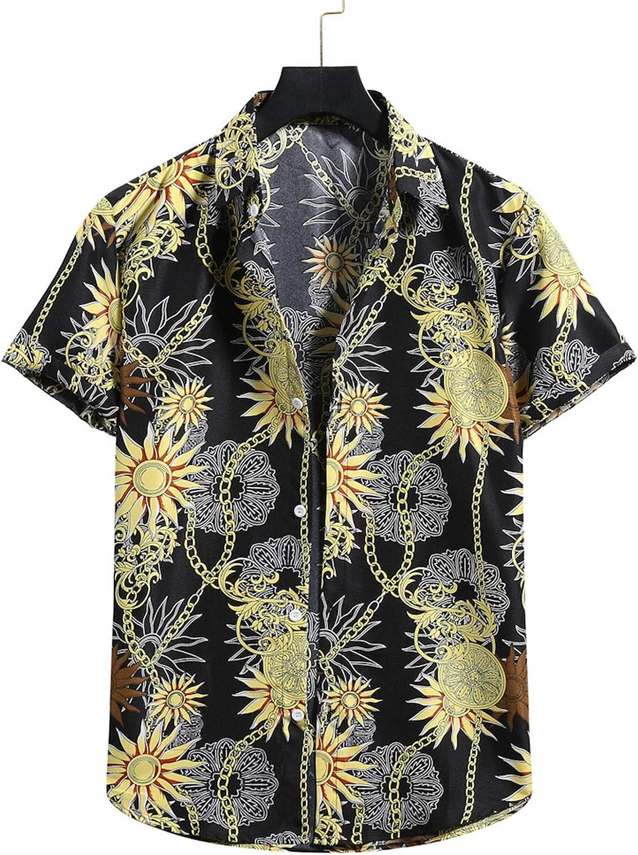 Mens Hawaiian Fashion Shirt Personality Beach Party Holiday Shor