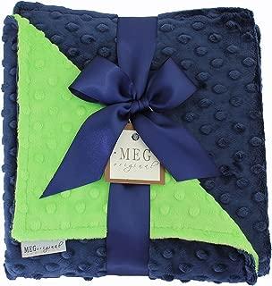 MEG Original Navy Blue & Lime Green Minky Dot Baby Blanket 972