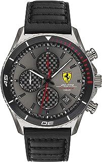 Ferrari Men's PILOTA EVO Stainless Steel Quartz Watch with Leather Strap, Black, 22 (Model: 0830773)