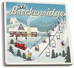 Lantern Press Ski Breckenridge, Colorado - Retro Ski Resort (Set of 4 Ceramic Coasters - Cork-Backed, Absorbent)