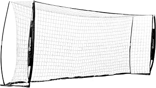 Champion Sports Portable Soccer Goal: Rhino Flex Soccer Goal Net with White Netting, Black Frame, Ground Stakes and Carry ...
