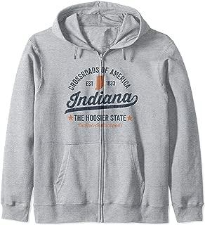 Indiana Vintage Sports Design Hoosier State Rough Zip Hoodie