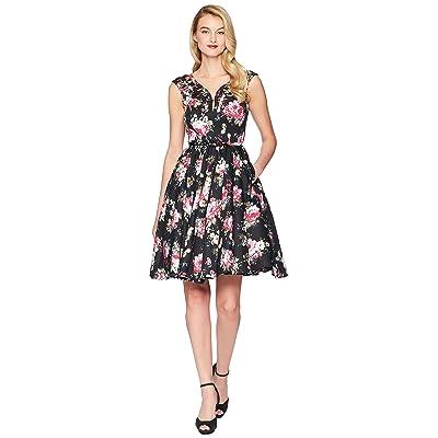 Unique Vintage Olive Swing Dress (Black Floral) Women
