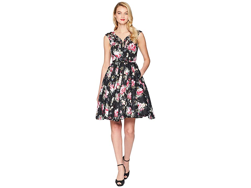 Unique Vintage Olive Swing Dress (Black Floral) Women