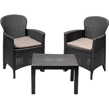 MaxxGarden Set de Jardin - 2 chaises et Petite Table - Salon de Jardin en Résine tressée - Gris