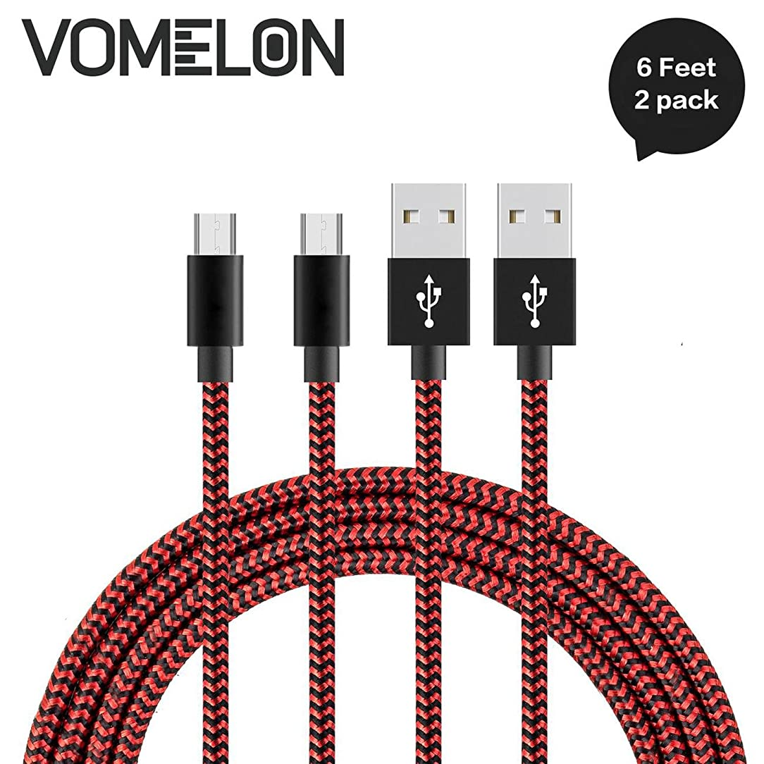 Micro USB Cable, [6FT-2Pack] Nylon Braided High Speed Sync & Charging Cable A Male to Micro B for Samsung, HTC, LG, HP, Sony, Most Android Phones and More-[Red + Black]