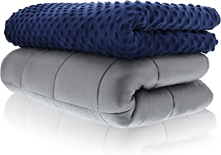 Sonno Zona Weighted Blanket Adult Size - Blanket with Cover Included - Navy 60x80 inches 20 Pound - Blankets Made from Relaxation Sleep Fabric for Natural Calm