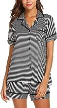 Ekouaer Pajamas Soft Striped Women's Short Sleeve Button Sleepwear Shorts Shirt PJ Set(S-XXL)