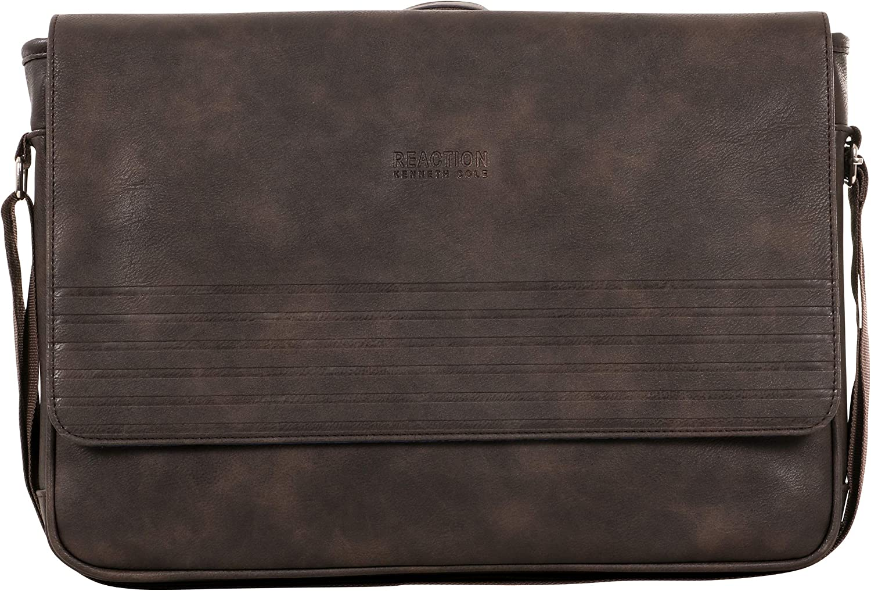 Kenneth Cole REACTION Travelier Satchel Messenger Vegan Leather Laptop Computer Shoulder Bags