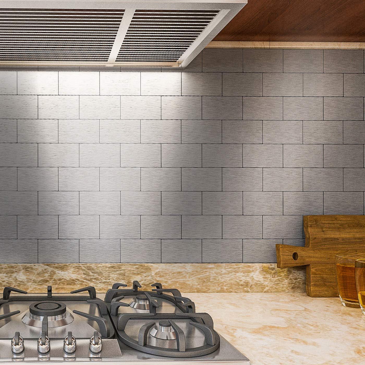 Art3d 32 Piece Peel And Stick Backsplash Tiles Brushed Metal Subway Backsplash Tile For Kitchen 3 X6 Silver Amazon Com