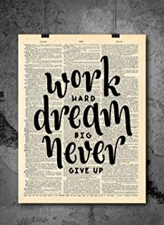 Best work hard dream big never give up quote Reviews