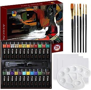 Mancola Kit de peinture acrylique professionnelle 34 pièces comprenant 24 peintures acryliques, 6 pinceaux, toile, palette...
