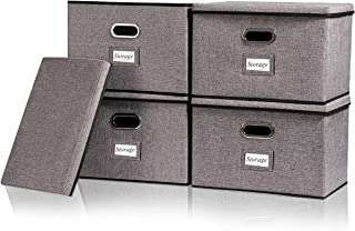 Large Linen Storage Boxes with Lids No Smell with Label Window [4Pack] Fabric Collapsible Foldable Storage Bins Organizer Containers with Cover for Home Bedroom Closet Grey Color