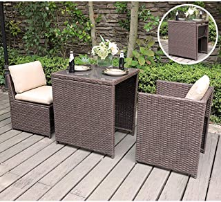 SUNSITT Outdoor Wicker Bistro Table Set 3 Piece Patio Furniture Set with Cushions, Space Saving Design, Garden Balcony Porch Furniture Brown