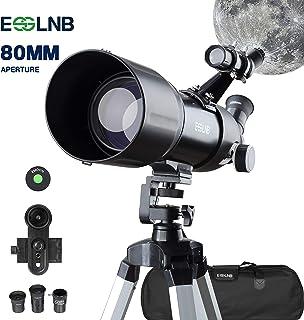 ESSLNB Telescopio Astronomico 40080 Telescopio Astronomico Profesional con 10X Adaptador de Telefono Ajustable Trípode 3X Barlow Lente Bolsa de Transporte y Filtro Lunar