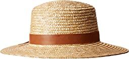 WSH1203 - Wheat Straw Boater with Faux Leather Band