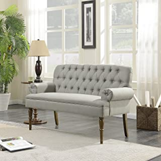Belleze Vintage Loveseat Sofa Settee Bench with Wood Legs Living Room Linen Fabric Button Tufted, Gray