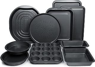 ChefLand 10-Pc. Nonstick Bakeware Set |Premium Baking Sheets, Baking Pans, Roasting Pan, Pizza Pan, Crisper Pan, Cake Pans & More | Durable Carbon Steel Baking Set | Prime Housewarming & Wedding Gift