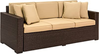 Best Choice Products 3-Seat Outdoor Wicker Patio Sofa w/Removable Cushions, Brown