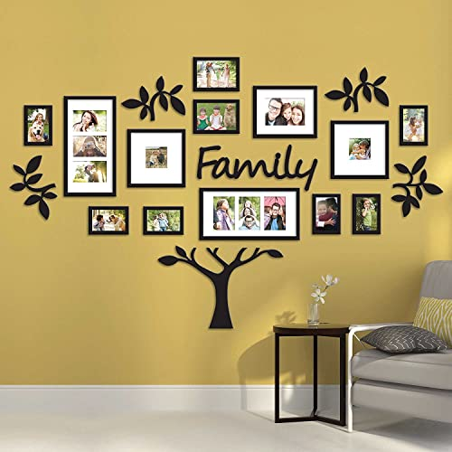 """Paper Plane Design 19-Piece Picture Frames Eye-Catching Collage """"Family"""" Tree Picture Frame,Black (17 Photos)"""