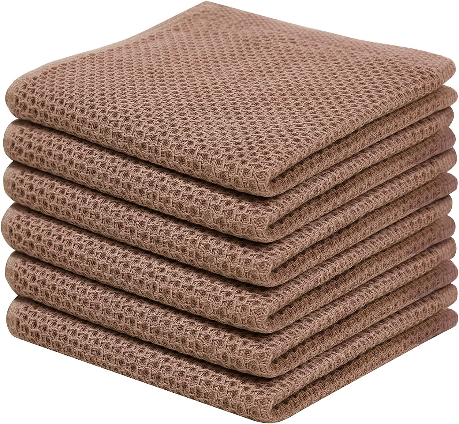 100% Cotton Kitchen Dish Cloths, 6 Pack Waffle Weave Dish Towels Ultra Soft Absorbent Quick Drying Kitchen Towels, 12 X 12Inch, Brown