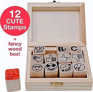 "Stampmojis Emoji Teacher Grading Stamps - Grading Stamp Set   3/4"" Teacher Stamps for Grading Ink Not Included"