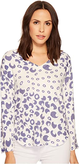 Bubble Printed V-Neck French Terry Top