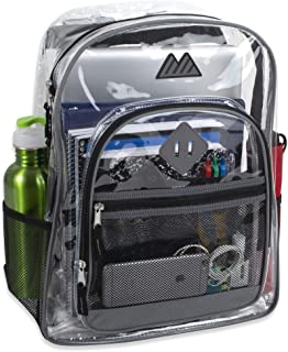 Clear Backpack with Water Bottle Holder, Stadium Approved for Men, Women, Boys, and Girls, with Adjustable, Padded, Reinfo...