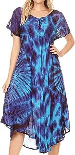 Sakkas Ada Women Cold Shoulder Caftan Relax Long Maxi Dress on Tie-dye with Corset