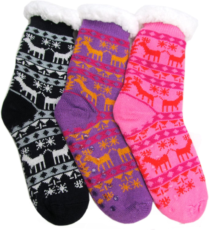 J. Ann Men/Women/Children Winter Thick Sherpa Fleece-lined Knit Slipper Socks w/Non-Skids Bottoms pack of 3 pairs