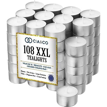 Cia&Co - Lot de 108 bougies chauffe-plat XXL, longue durée, 8 heures Bougie blanche en paraffine, sans parfum. Idéale pour l'hôtellerie.
