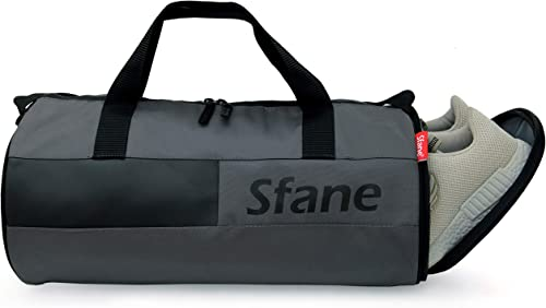SFANE Duffel Grey Gym Bag,Shoulder Bag for Men & Women with Shoe Compartment