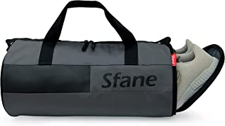 SFANE Duffel Gym Bag,Shoulder Bag for Men & Women with Shoe Compartment (Grey,Black)