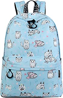 Backpack for Teens, Fashion Cute Cat Pattern Backpack College Bags Women Daypack Travel Bag by Mygreen (Light Blue Kitty-Large)