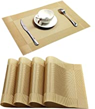 U'Artlines Placemat, Crossweave Woven Vinyl Non-Slip Insulation Placemat Washable Table Mats (Gold, 4pcs placemats)