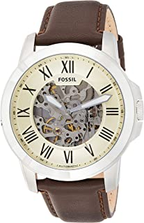 Fossil Men's Automatic Watch, Analog Display and Leather Strap Me3052, Brown Band