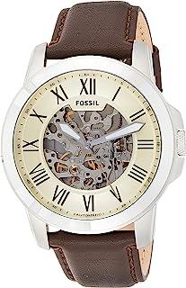 ساعة جرانت للرجال من فوسيل بمينا ابيض وسوار من الجلد، ساعة اوتوماتيك - ME3052