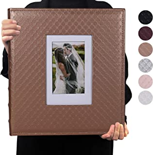 RECUTMS 4x6 Photo Album 600 Photos Large Capacity Black Inner Page Button Grain Leather Pockets Pictures Album Family Photo Albums Book Horizontal and Vertical Photos (Brown)