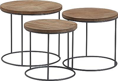 Tommy Hilfiger Geometric Nesting Table Set, Distressed